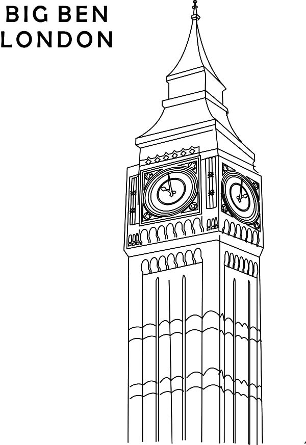 Drawn big ben clock tower Pages Pages London Coloring Tower