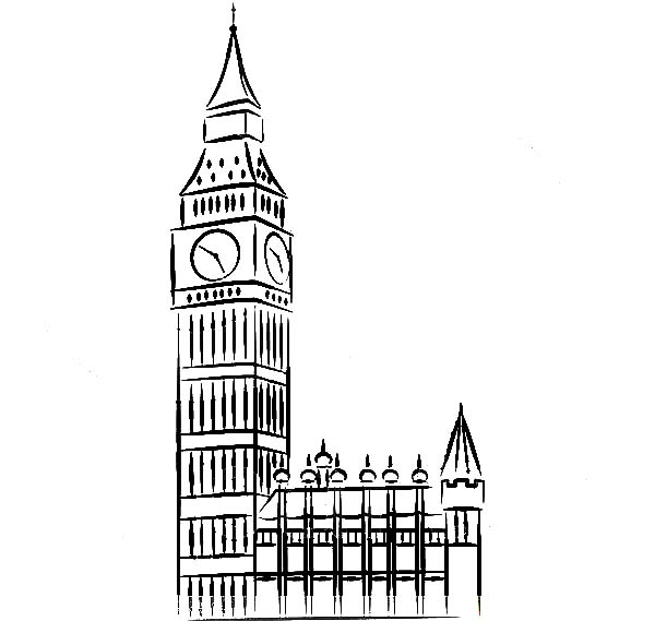 Drawn big ben clock tower Coloring Tower Tower Clock Proud