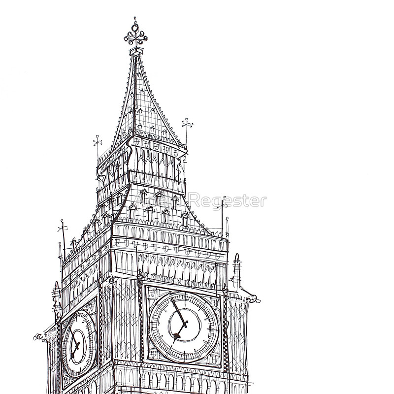 Drawn big ben clock tower Regester by Line Adam by
