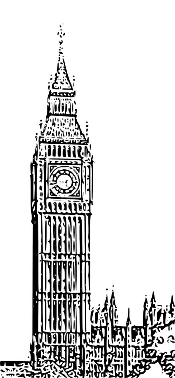 Drawn big ben clock tower Coloring Tower of Tower Clock