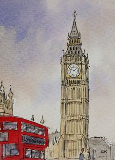 Drawn big ben rainy city Work Big leaves Wiltshire Painting