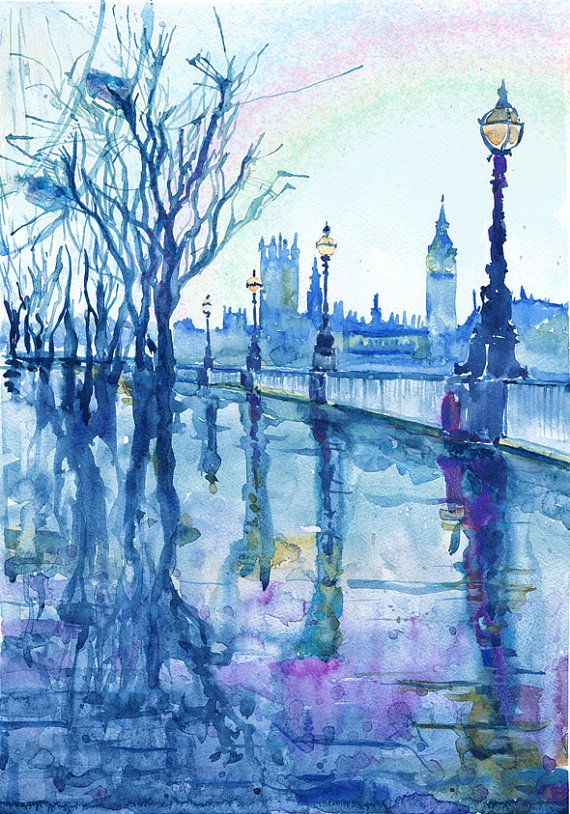 Drawn big ben rainy city Of painting cities best british