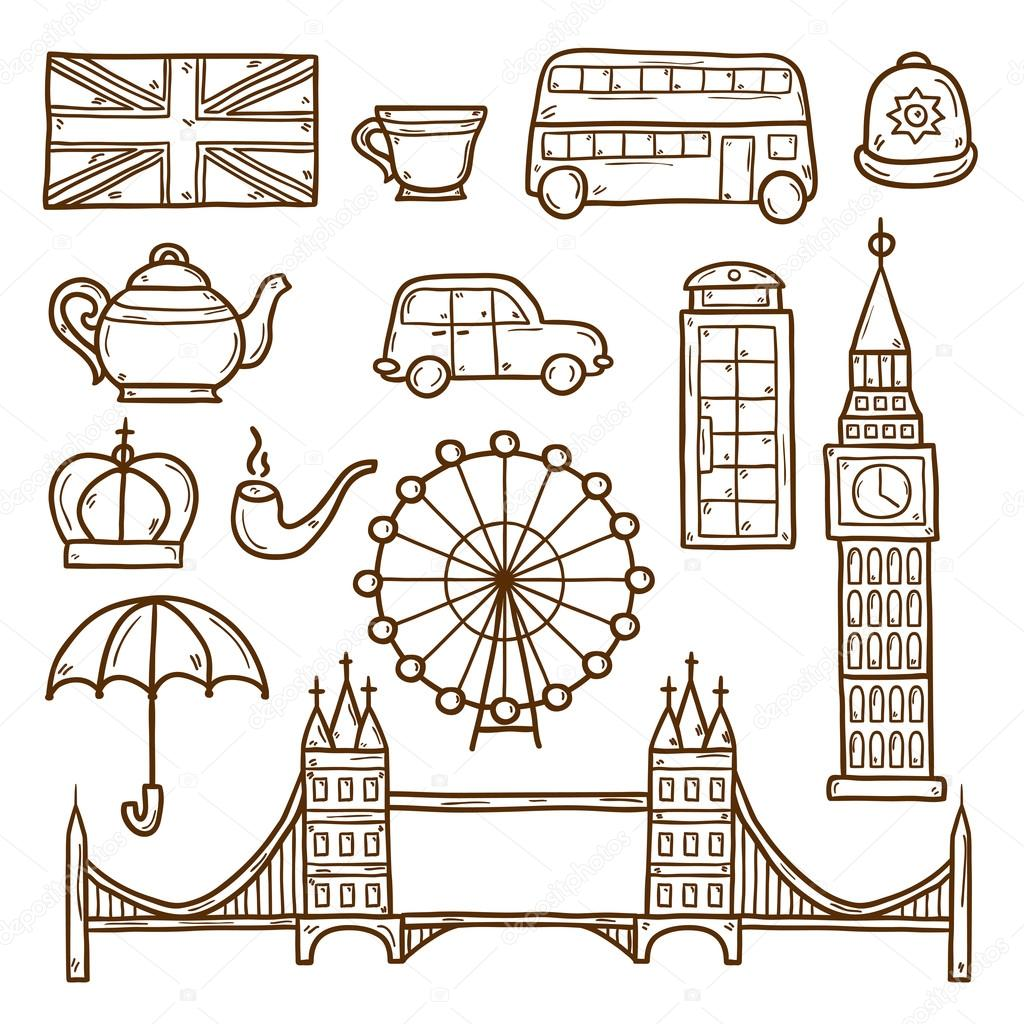 Drawn big ben red bus Objects of Set cartoon bus