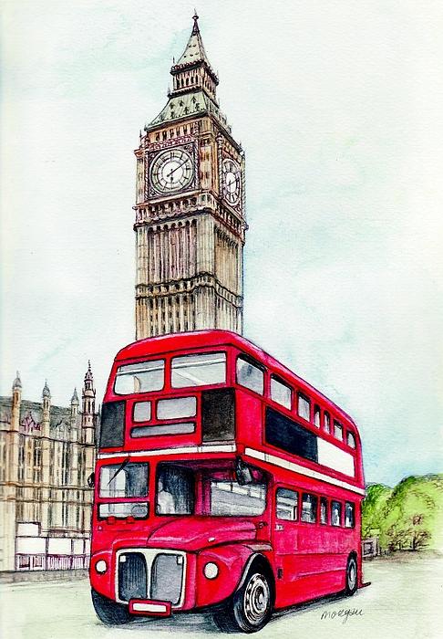 Drawn big ben red bus Greeting London  Ben Sale