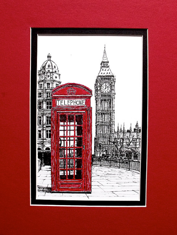 Drawn big ben telephone booth Ink London ben phone Original