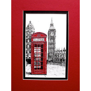 Drawn big ben telephone booth London Original ben Red phone