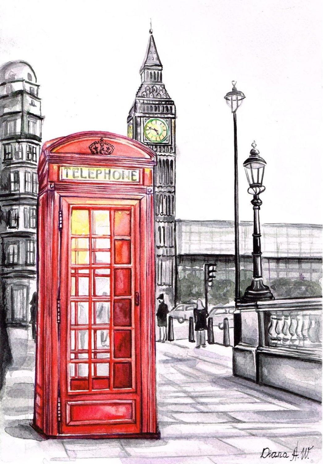 Drawn big ben telephone booth Aleksanian Box telephone Diana WATERCOLOR
