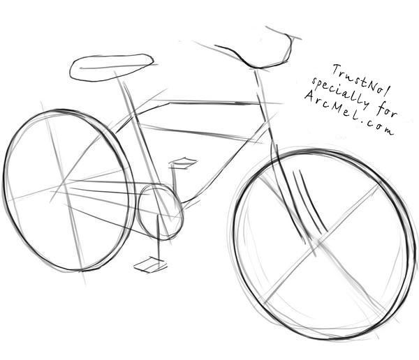 Drawn bike bicycle line #7