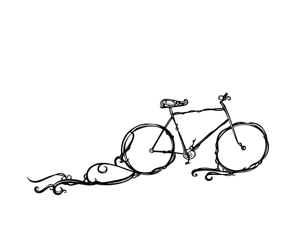 Drawn bike bicycle line #10
