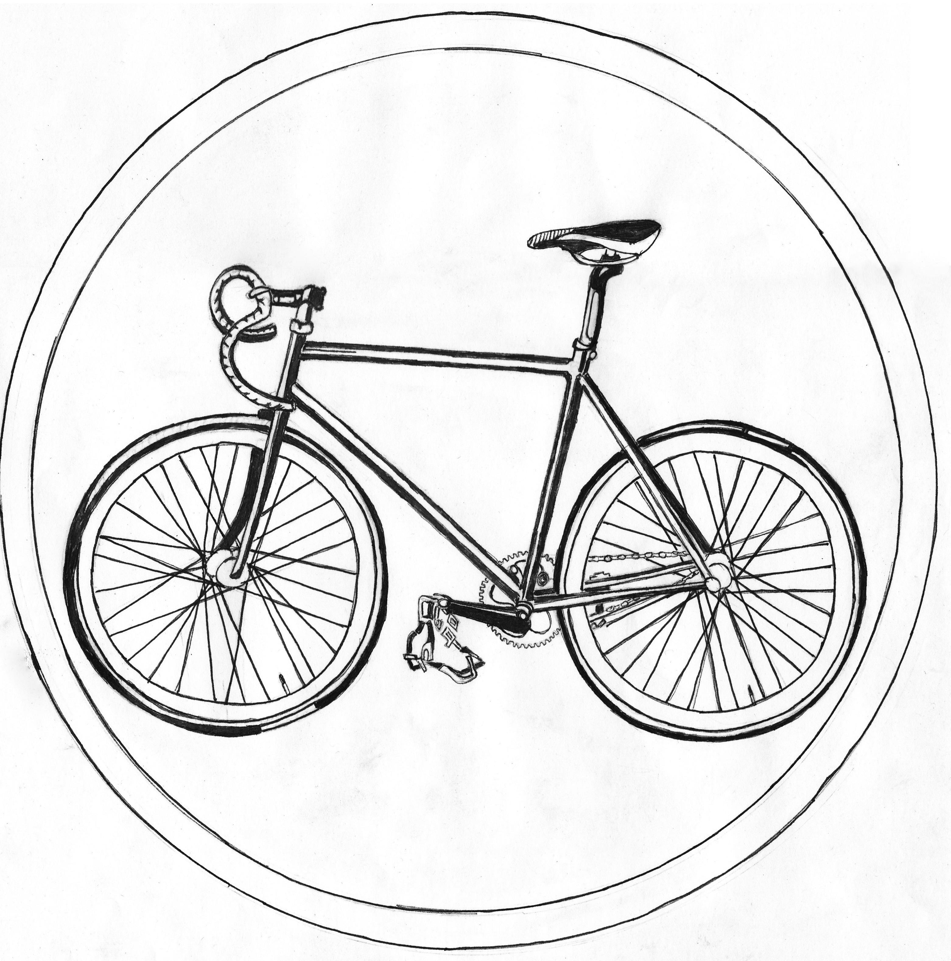 Drawn bike bicycle line #14