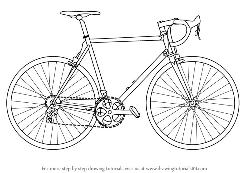 Drawn bike bicycle line #4