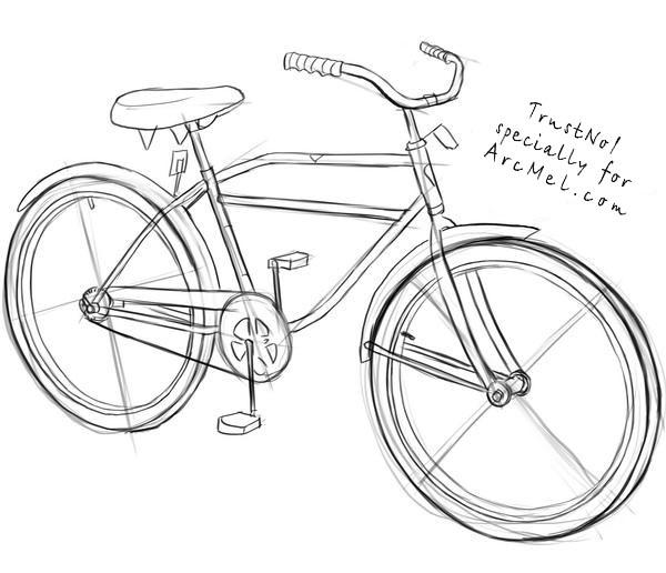 Drawn bike bicycle line #2