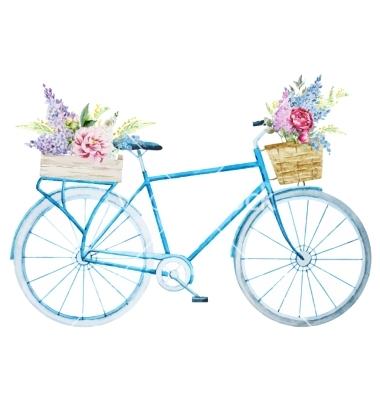 Drawn bike minimalist  flower on with bike
