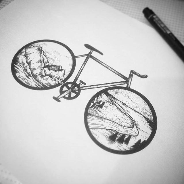 Drawn bike minimalist Pinterest tattoo Tattoo Sketch Bicycle