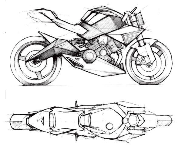 Drawn bike motorbike Design ideas Best design behance