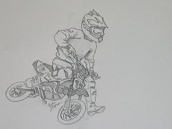 Drawn bike pit bike #13