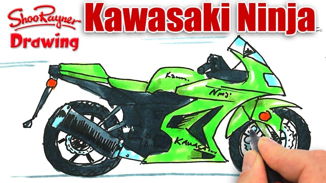 Drawn race car vehicle How Kawasaki draw  to