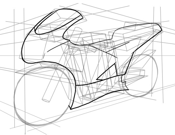 Drawn bike sport bike Now in to How drawing