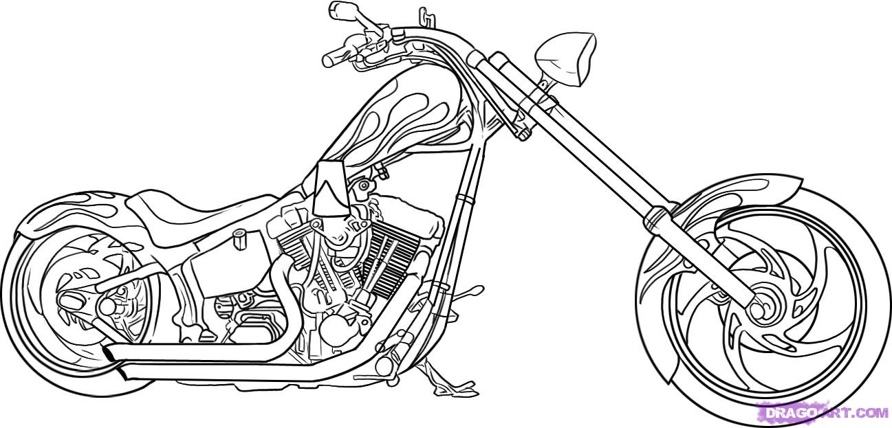 Drawn biker Draw by to Motorcycles Transportation