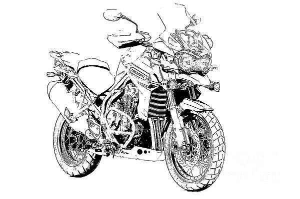 Drawn biker black & white #9