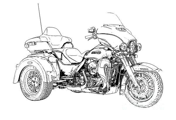 Drawn biker black & white #8