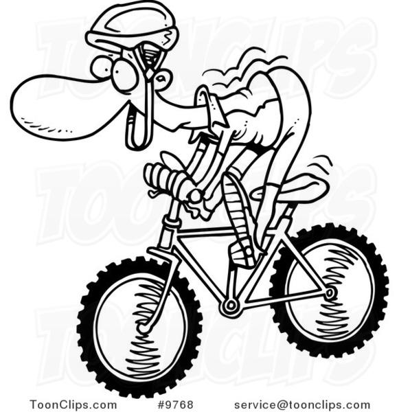 Drawn biker black & white #10