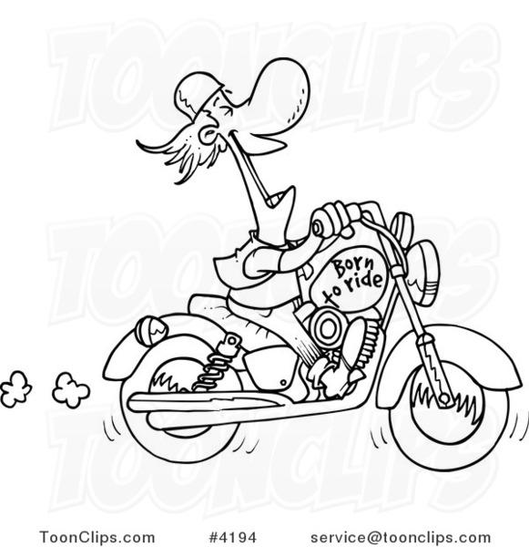 Drawn biker black & white #7