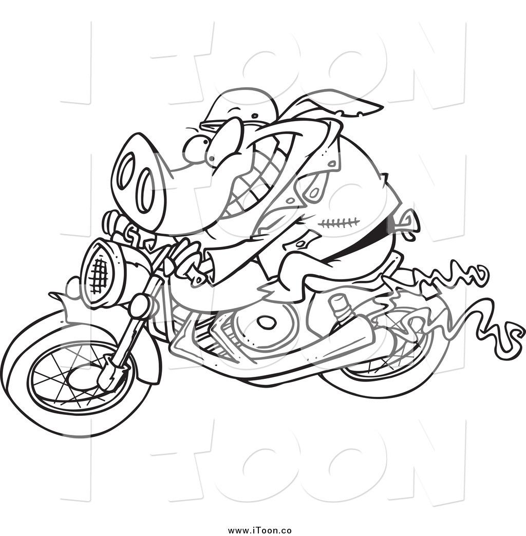 Drawn biker black & white #11