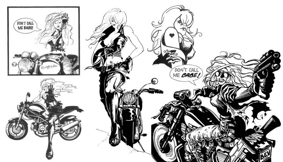 Drawn biker illustrator Brochures Design leaflets Graphic R