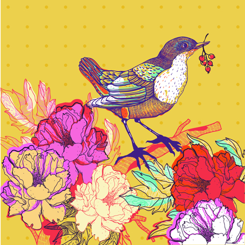 Drawn floral bird #13