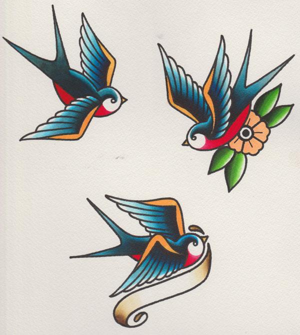 Drawn swallow tatoo #15