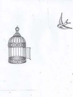 Drawn birdcage Vintage birdcages and for tattoo