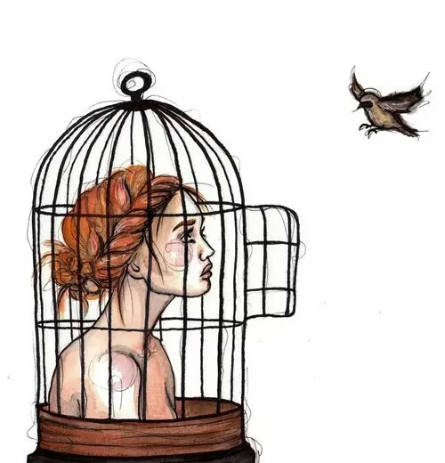 Drawn birdcage Rozaap Pinterest Drawing Girl Painting