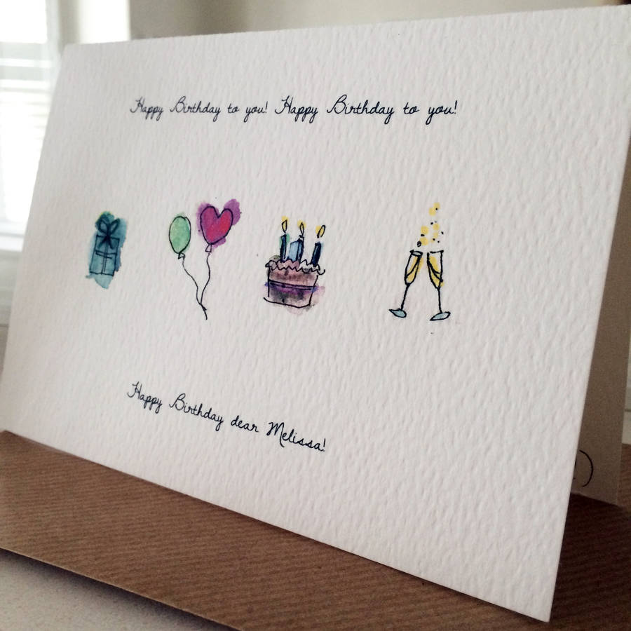 Drawn birthday Personalised drawn Personalised Card Hand