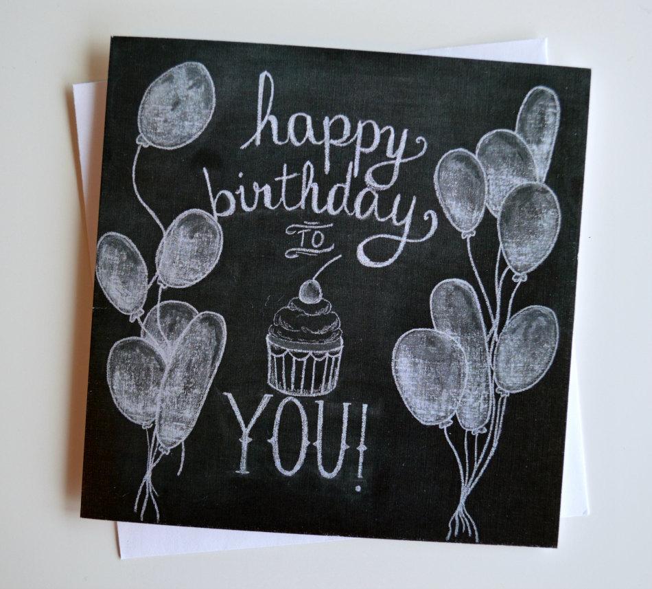 Drawn birthday Etsy Chalk Happy birthday Chalkboard