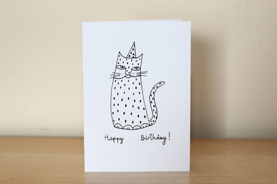 Drawn birthday Cat birthday funny birthday drawing