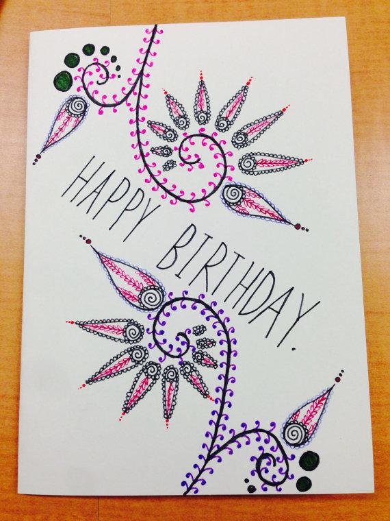 Drawn birthday Drawn Card Hand Hand drawn