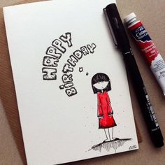 Drawn cards happy birthday Handmade  drawn Red SabSabWorld
