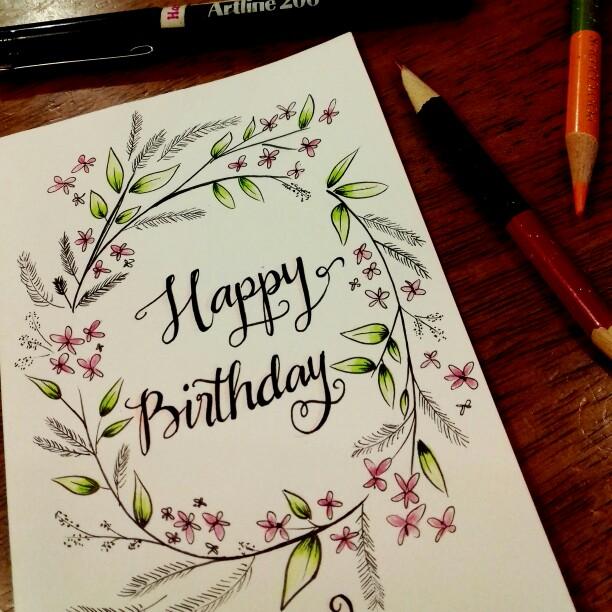 Drawn cards happy birthday Birthday  birthday with flower