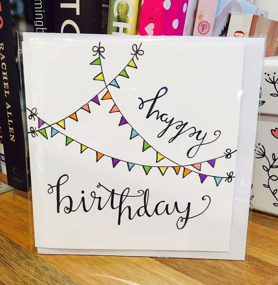 Drawn cards happy birthday Card Handmade Drawn Flag Handmade