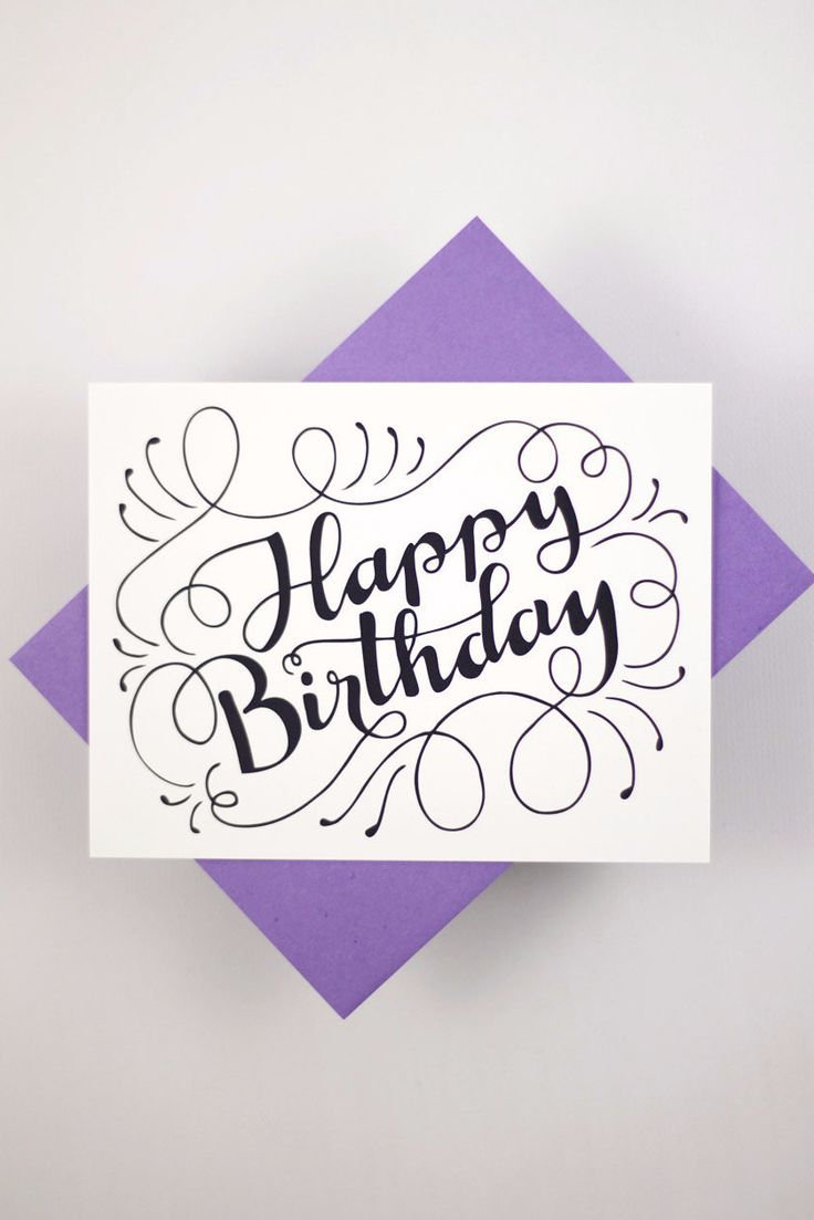 Drawn card graphic On white envelope Happy Birthday