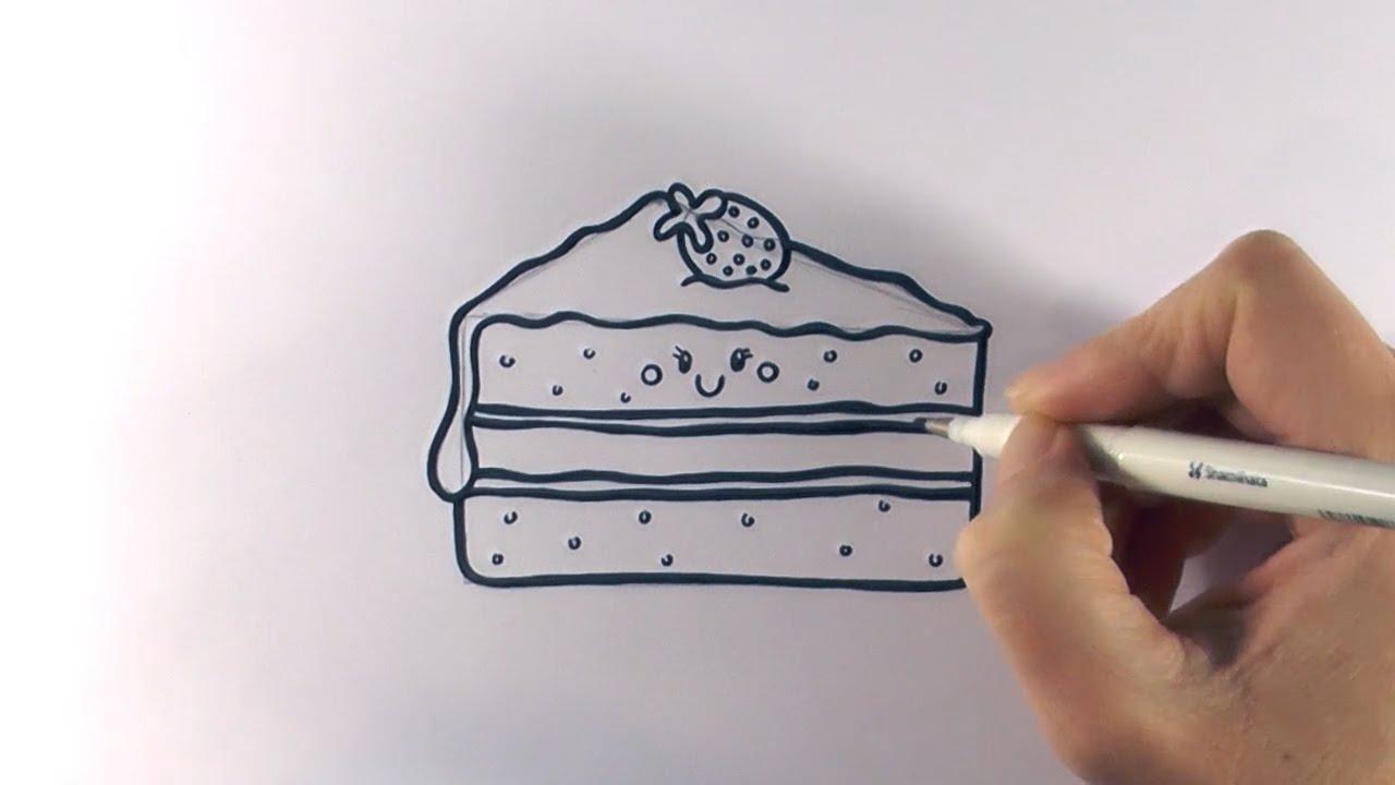 Drawn cake pencil drawing YouTube Cartoon a Cake to