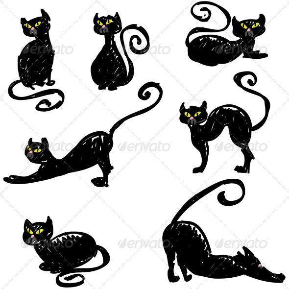 Drawn black cat Hand Cats Characters Set Drawn