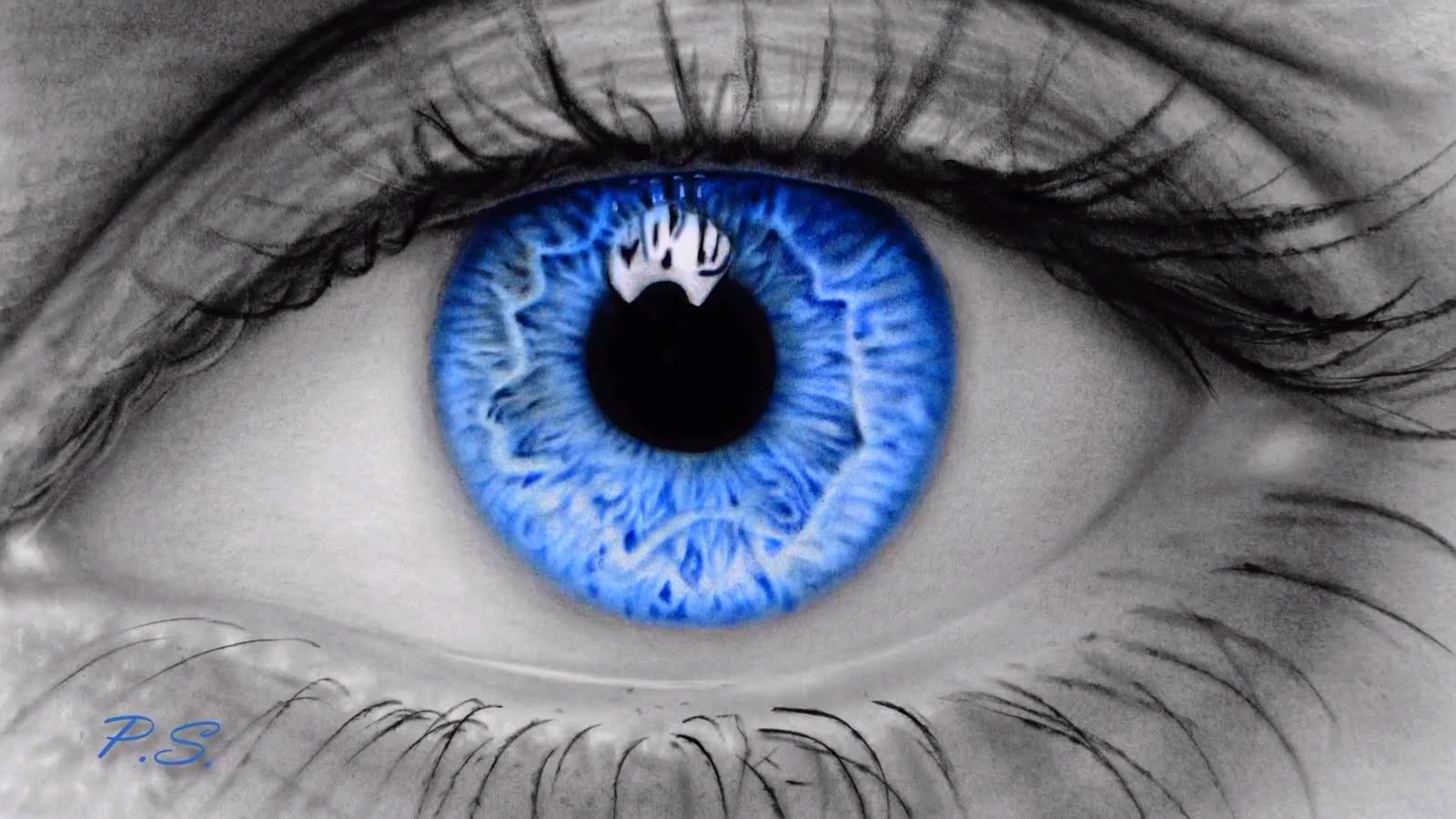 Drawn blue eyes Video HD  Art a