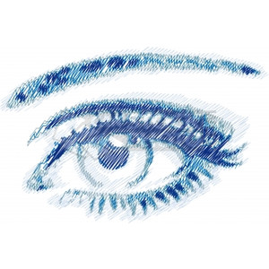 Drawn blue eyes Vector hand Vector drawn blue