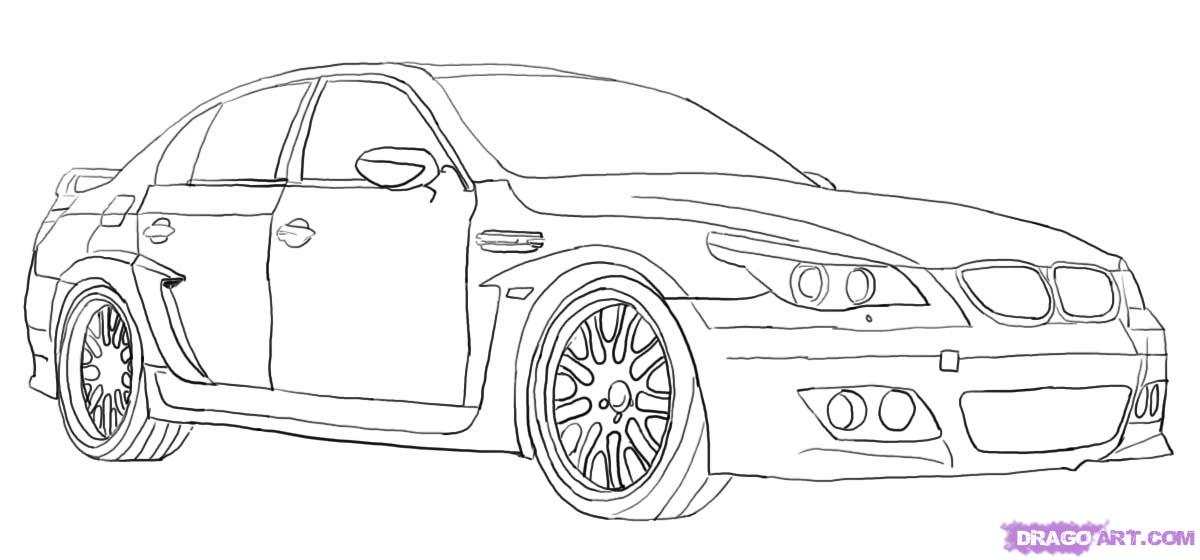 Drawn vehicle top view Draw a  BMW by