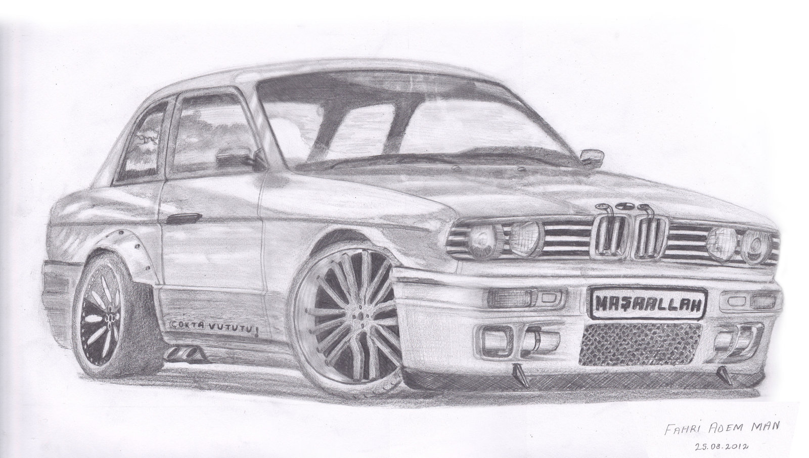 Drawn vehicle doodle Realistic Pencil BMW Drawing Photo