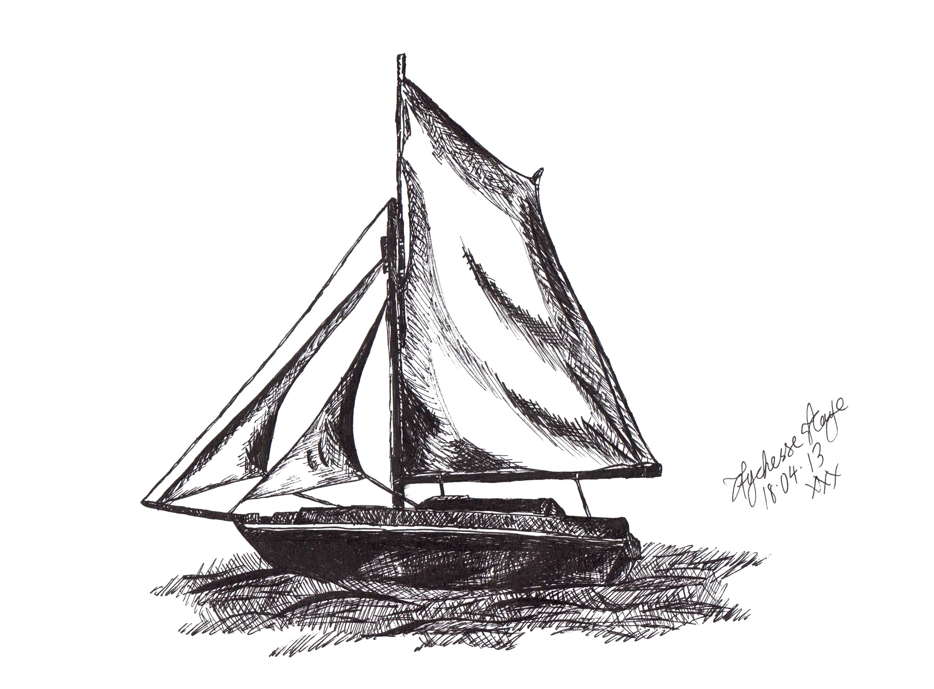 Drawn boat – Drawing: Boat Kaye Aychesse