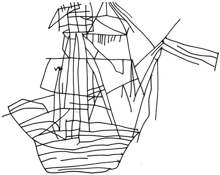 Drawn ship graffito Ship Barn of on Early
