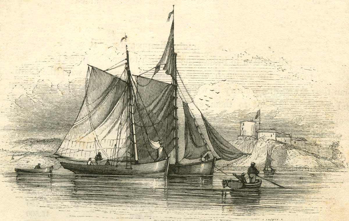 Drawn scenery boat Prints and fishing its character